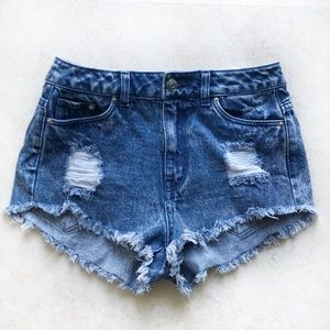 Divided- High Waisted Distressed Shorts